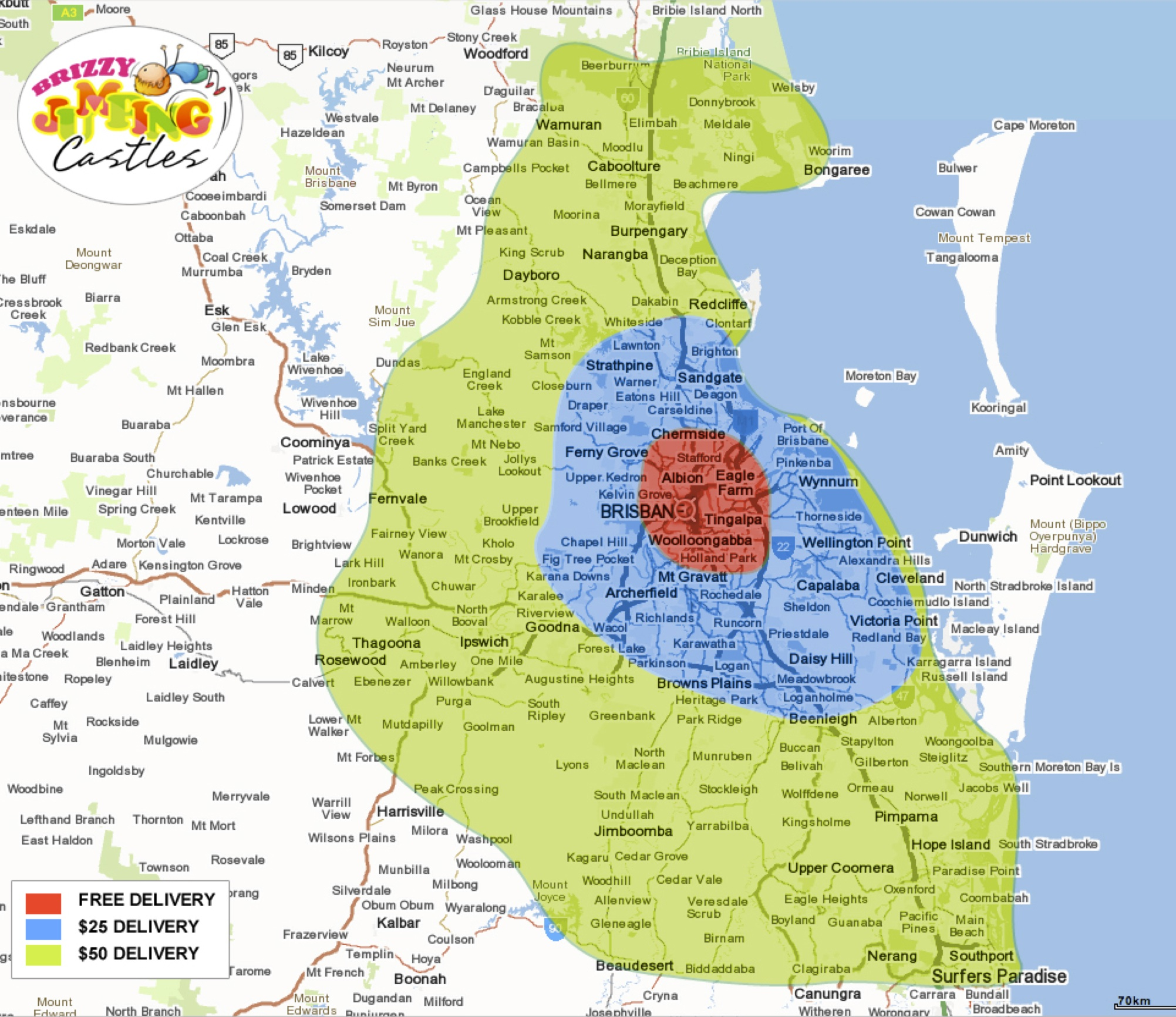 Hire Brisbane Delivery Map